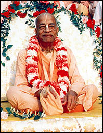 Prabhupada on with bead bag